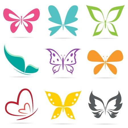 farfalla tatuaggio: Gruppo di farfalle su sfondo bianco. Vettoriali