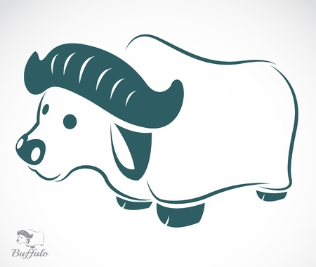 image of an buffalo on white background  Vector