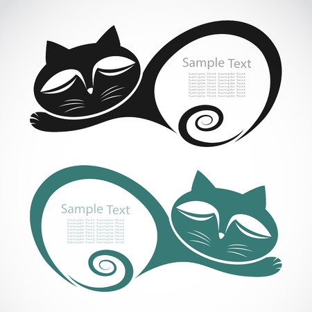 animal silhouette: The design of the cat on white background
