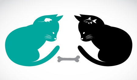 Two cats sitting looking food - illustration. Vector