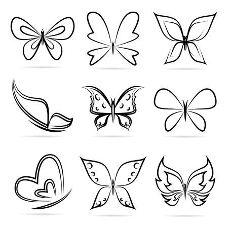 Gruppo vettoriale di farfalle su sfondo bianco.