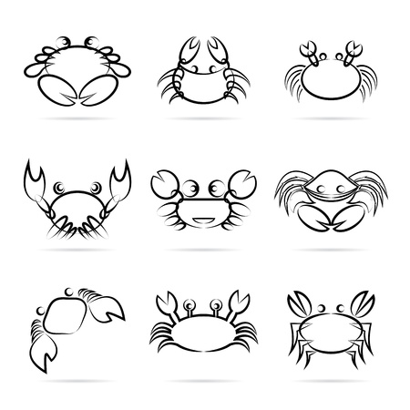cancer crab: Set of vector crab icons on white background Illustration