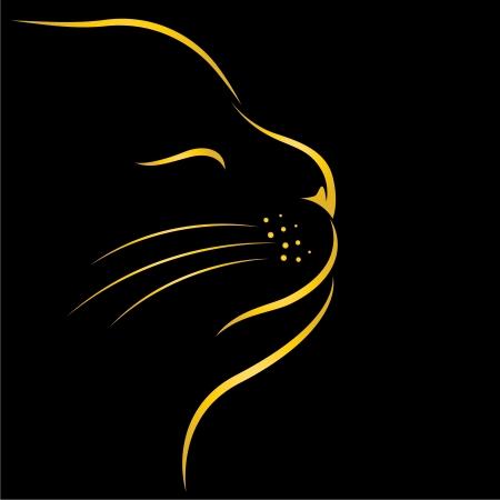cats: immagine di un gatto su sfondo nero Vettoriali