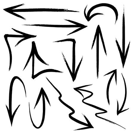 다양한 방향 및 스타일을 손의 컬렉션으로 그린 낙서 스타일의 화살표