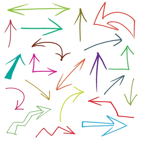 arrow left icon: Collection of hand drawn doodle style arrows in various directions and styles
