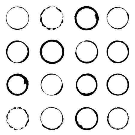 brushstroke: set grunge circle brush strokes for frames