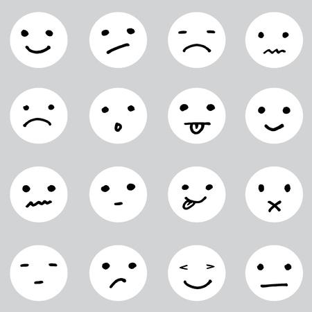 cara triste: Conjunto de dibujos animados garabatos se enfrenta en una variedad de expresiones Vectores