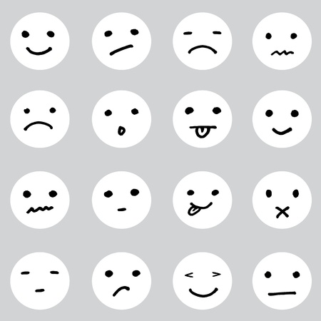 sad face: Set of doodled cartoon faces in a variety of expressions