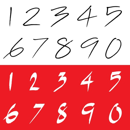 Numbers 0-9 written with a brush   Illustration