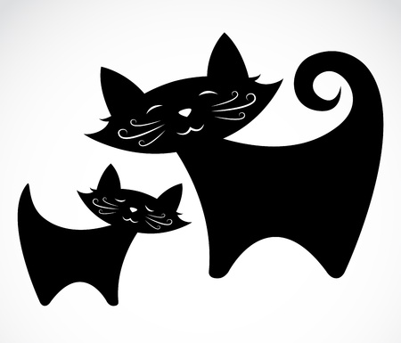concomitant: image of an black cat on a white background Illustration