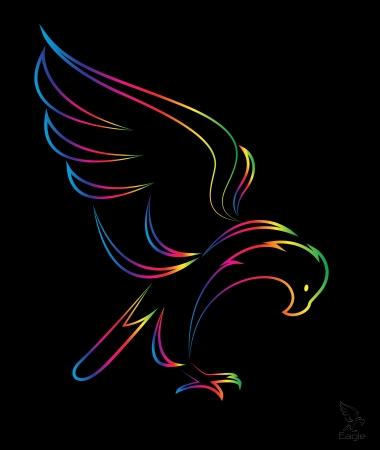 cartoon eagle: image of an eagle on black background