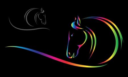 hoofd van het paard op een zwarte achtergrond Stock Illustratie