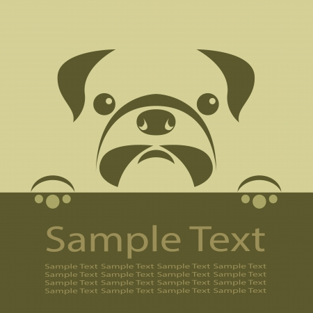 dog ears: Vector image of an pug puppy