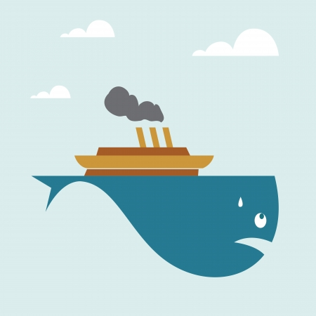 suspiciously: Vector image of a boat on whale