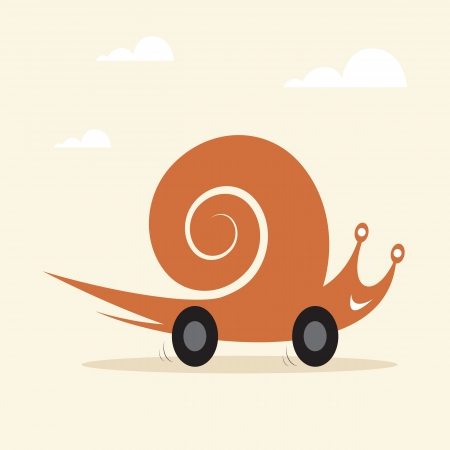 Vector image of an snail on wheels  Vector