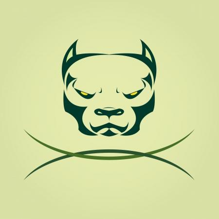 Vector image of head Dog Pitbull. Illustration