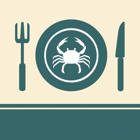 Crab in a dish on the table Vector