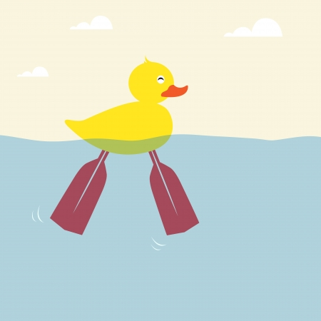 oar: The ducks are swimming with a foot paddle