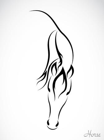 siluetas de animales: Vector de imagen de un caballo en el fondo blanco