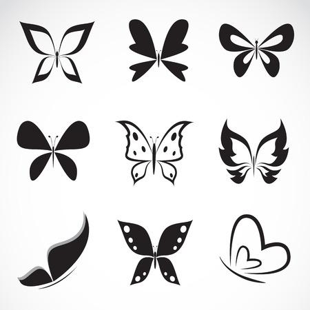 siluetas de animales: Grupo de vector de la mariposa en el fondo blanco