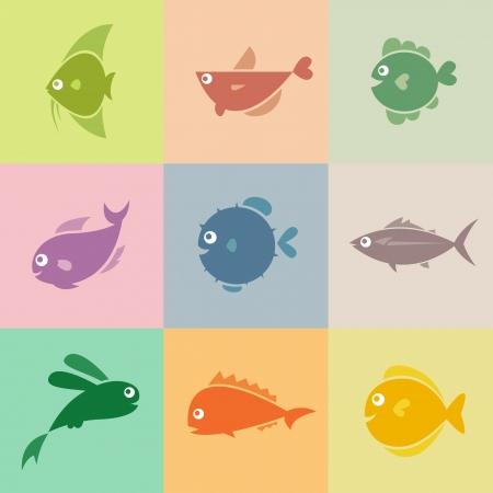 peces caricatura: Set de iconos vectoriales de pescado Vectores