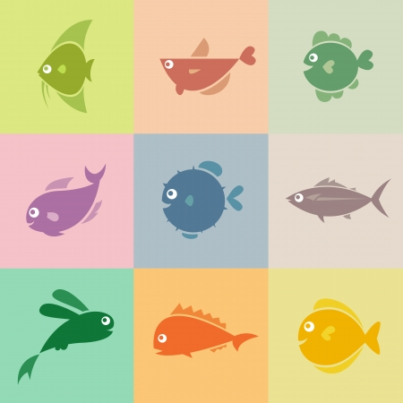 outline fish: Set of vector fish icons