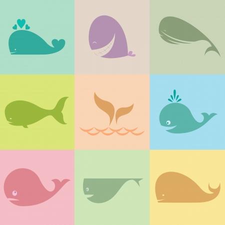 tail fin: Conjunto de iconos vectoriales de ballenas en las p�rdidas de bal�n
