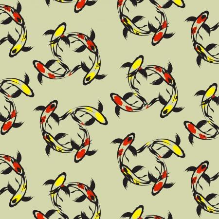 Seamless wallpaper carp koi  Vector illustration Stock Vector - 24505411