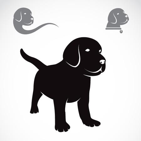 Ilustracja wizerunku labrador szczenięta na białym tle