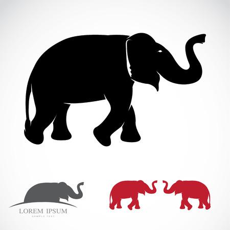 siluetas de elefantes: Imagen Ilustración de un elefante sobre un fondo blanco
