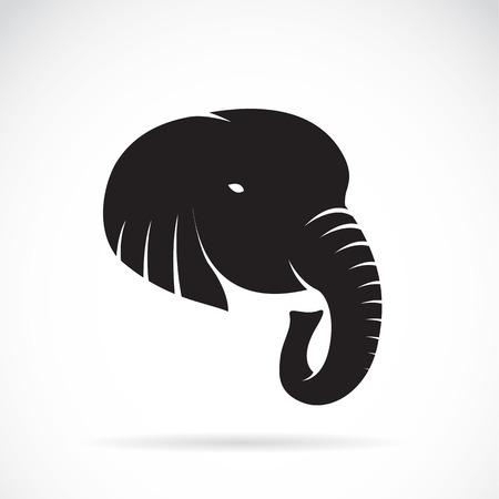 silhouettes elephants: Imagen Ilustraci�n de una cabeza de elefante sobre un fondo blanco