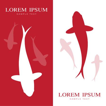 fish animal: Illustration image of an carp koi label