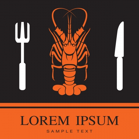 Lobster, Fork and Knife icon, restaurant sign Vector