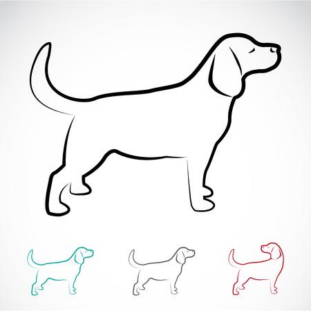 siluetas de animales: Vector de imagen de un labrador perro sobre fondo blanco
