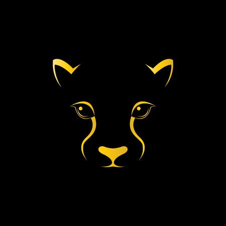 Vector beeld van een cheetah gezicht op zwarte achtergrond