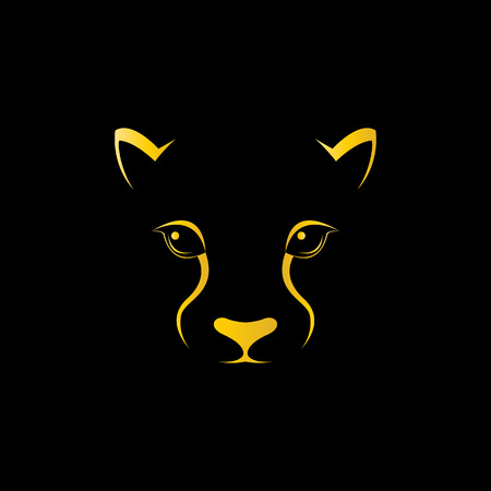 black and white panther: Vector image of an cheetah face on black background