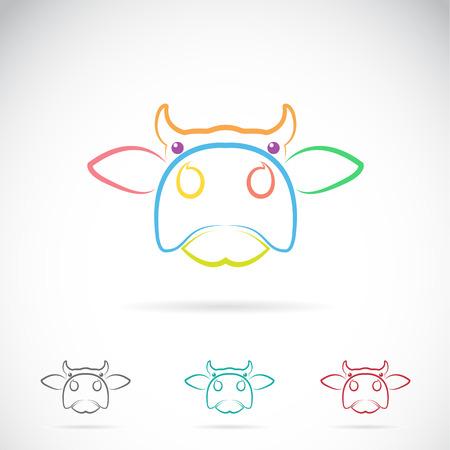 vacas lecheras: Vector de imagen de una cara de la vaca en el fondo blanco Vectores