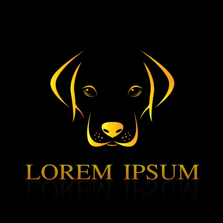黒の背景に、犬のラブラドールのベクトル画像