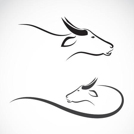 Vector beeld van een buffel op een witte achtergrond. Stock Illustratie