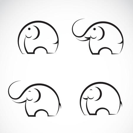 drawing an animal: Set di vettore elefante icone su sfondo bianco Vettoriali