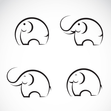 Set of vector elephant icons on white background