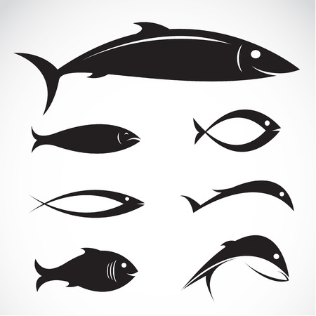 Set of vector fish icons on white background Vector