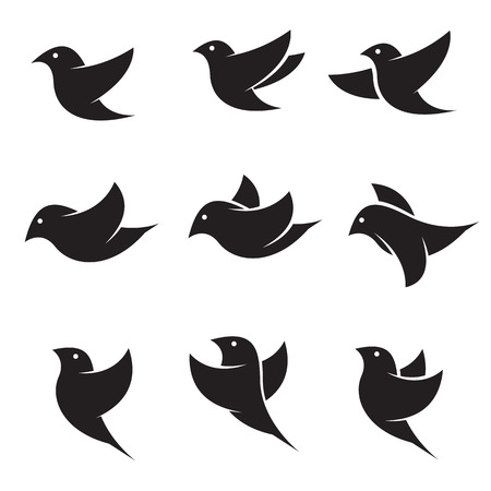 black bird: Set of vector bird icons on white background Illustration