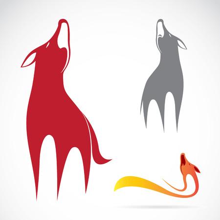 pack animal: Vector immagine di un disegno lupo su sfondo bianco