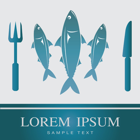 restaurant sign: Fish, Fork and Knife icon, restaurant sign