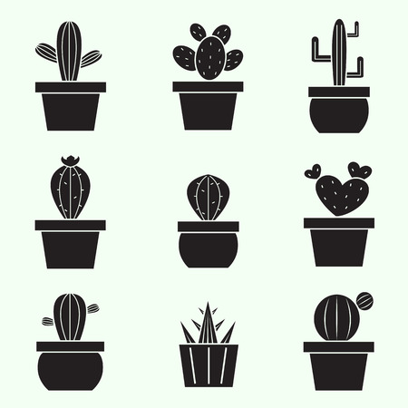 Set of vector cactus icons on white background Vector