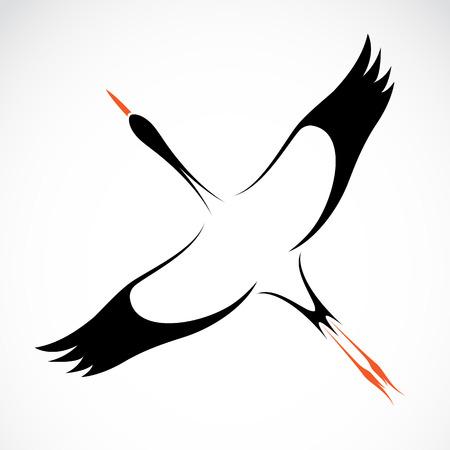 outlinear: Vector de imagen de una cigüeña en el fondo blanco