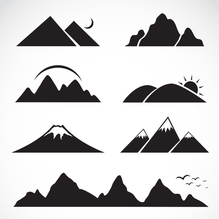 Set of mountain icons on white background