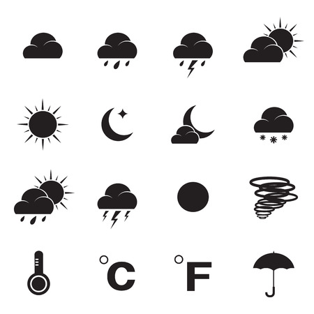 Vector weather icon set on white background