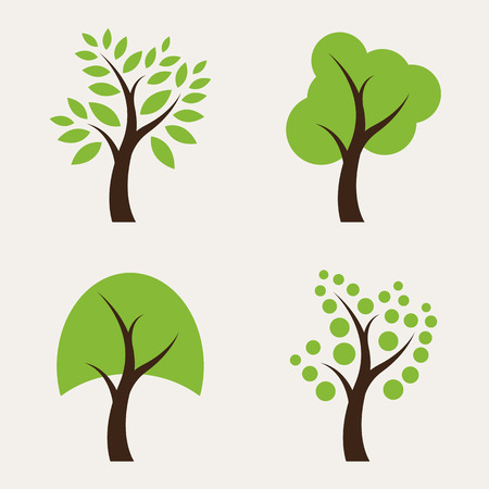 Set of tree icons on white background
